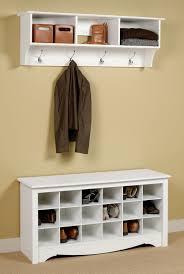 picture of prepac entryway shoe storage bench u0026 wall shelf set