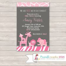 Girl Jungle Baby Shower Invitation Pink And Grey Animal Print Party