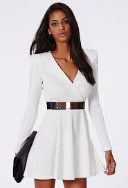 white long sleeve v neck dress with belt 25 99 online shopping