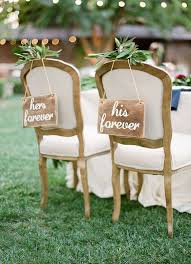 Her Forever And His Wedding Chair Signs