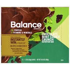 Balance Bar Nutrition Chocolate Mint Cookie Crunch 6 Bars 176 Oz