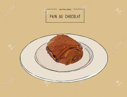 Chocolate Croissants Pain Au Chocolat Traditional French Pastry Hand Draw Sketch Vector