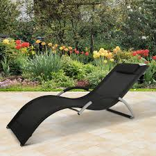 Details About Aluminum Mesh Fabric Outdoor Chaise Sun Bathing Lounge Chair  Black