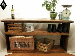 Large Rustic Shelving Unit Shoe Rack Entry Table Hall Storage