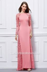 pink long sleeve formal dress evening gown thecelebritydresses