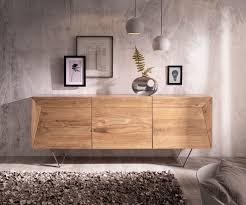 delife design sideboard wyatt 175 cm akazie natur 3d optik oben edelstahl sideboards