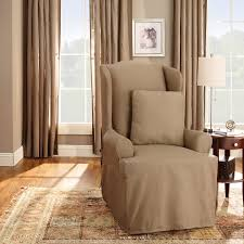 Stretch Suede Wing Chair Recliner Slipcover by Sure Fit Cotton Duck Wing Chair Slipcover Walmart Com