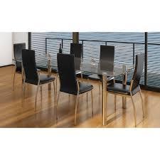 esszimmer stühle 6er set schwarz chrom kunstleder