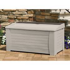 suncast premium 127 gallon deck box with seat and storage tray