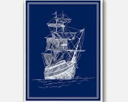 ship wheel print nautical art navy decor coastal wall art