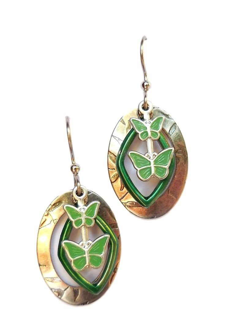 Silver Forest Green Butterflies Dangle Earrings