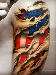 Mexican Flag Tattoo On Biceps