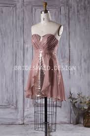 rose gold sequin short modern bridesmaid dress with chiffon