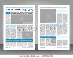 Newspaper Template Layout Print Design With Blue And Black Elements Vector Pages
