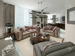 licht wohnzimmer in modernem design mit einer küche und einem essbereich in warmen farben 3d darstellung