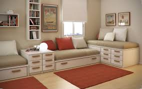 Interior Design Ideas Winsome Kids Room Designs For Small Spaces With Red And White Cushion Bed Storage Also Rug O