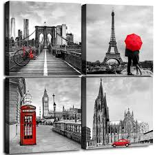 Framed Canvas Wall Art Home Decor For Living Room Black And White Red City Building Architecture Pictures Modern Artwork Brooklyn Bridge Paris