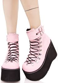 sweetie kera lace up platform boots pastel goth pastels and