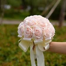 Real Touch Artificial Rose Flowers Silk Wedding Bouquets Bridal Bouquet With Ribbon Bridesmaid Holding Decoration Rustic