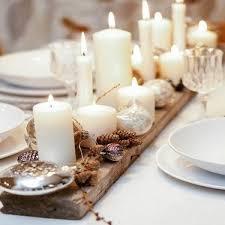 deco noel de table centre de table bois avec bougies comme deco noel