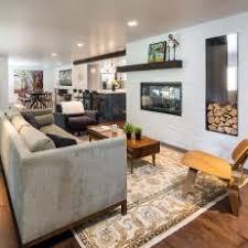 White Open Plan Midcentury Living Room