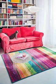 teppich modern design dor bunt streifen wohnzimmer pink