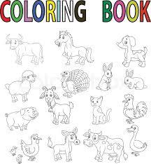 Vector Illustration Of Farm Animal Cartoon Coloring Book