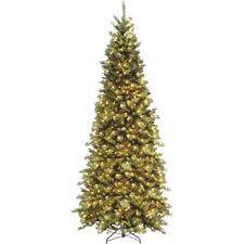 Fir 9 Green Slim Artificial Christmas Tree With 700 Pre Lit Clear Lights Stand