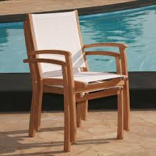Stack Sling Patio Chair by Rivera Teak Outdoor Sling Stacking Chair Outdoor