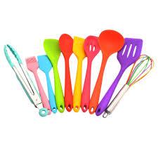 10 stück küchenhelfer set küche kochgeschirr silikon küchenutensilien hitzebeständig küchengeräte set bunt