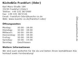 ᐅ öffnungszeiten küche co frankfurt oder karl marx