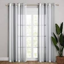 nicetown voile gardinen mit streifemuster weißer halbtransparenter vorhang mit ösen dekoschals vorhänge für wohnzimmer schlafzimmer 2 stücke h 245