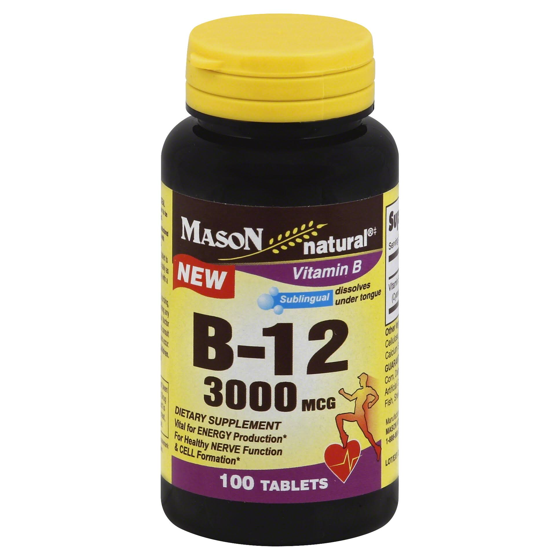 Mason Natural Vitamin B 12 Tablets - 3000mcg, 100ct
