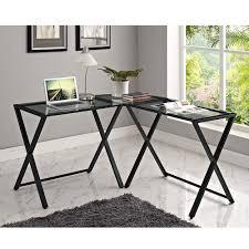 walker edison x frame glass and metal l shaped computer desk