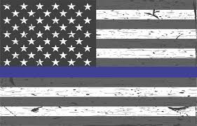 StickerTalk 22in X 14in Rustic American Blue Lives Matter Sticker Flag Bumper Stickers