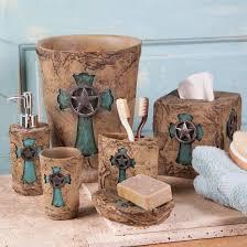 Teal Brown Bathroom Decor by Turquoise Cross Bath Essentials Western Bathroom Pinterest