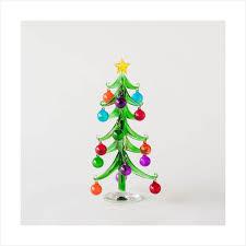 Mini Modern Glass Christmas Tree With Clear Base 10 25Cm