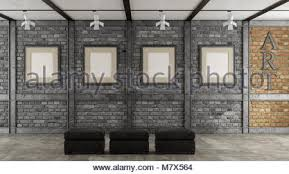 Art Gallery In A Loft With Blank Frame On Black Brick Wall