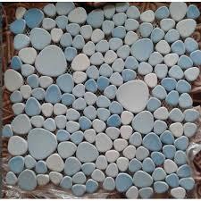 porcelain pebble mosaic tiles designs blue ceramic wall tile