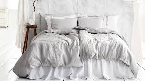 Gray White Bedding Contemporary Bedroom with Queen French Light