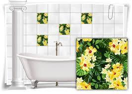fliesen aufkleber fliesen bild kachel hibiskus blumen gelb grün bad wc deko küche