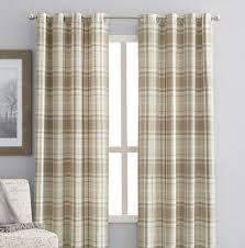 hometrends reilly plaid 84 window curtain panel grommets