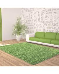 hochflor langflor wohnzimmer shaggy teppich unifarbe florhöhe 5cm grün größe 60x110 cm