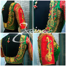 Beautiful Red And Green Combination Designer Blouse With Veena