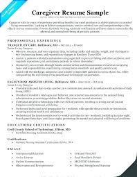 Sample Resume Of A Caregiver Resumes For