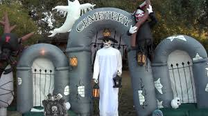 Halloween Yard Inflatables by 2008 Gemmy Inflatable Cemetery Gateway Scene Light Show Youtube