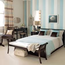 Modern Bedroom Decorating Ideas Wood Wooden Furniture Brown Blue And White