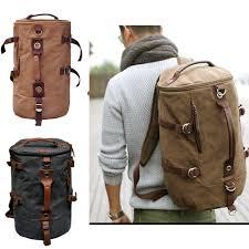 men u0027s stylish canvas backpack rucksack bag messenger hiking