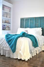 Beachy Headboards Beach Theme Guest Bedroom With Diy Wood by Between You U0026 Me Shutters As Headboard Homesweethome
