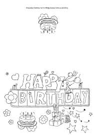 Happy Birthday Card Printable Coloring Pages Cards Free On Masivy Drawing Black And White Themes